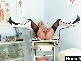 grandma into uniform spreads pale hirsute vagina