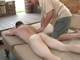 blond muscled gay acquires fellatio and massage