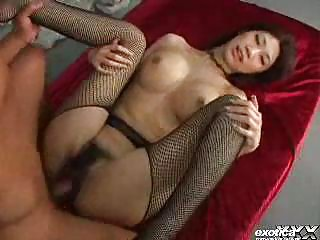 huge titty eastern  inside fishnet pantyhose has