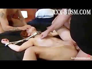 Bondage brunette babe gets spanking and fucked