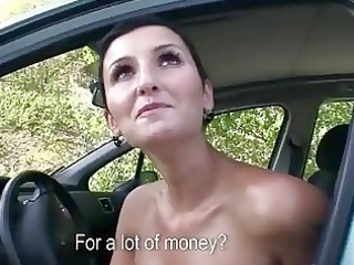horny woman pierced inside outside for banknotes