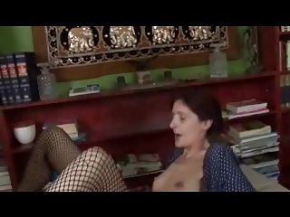 thin saggy small breast old into fishnets