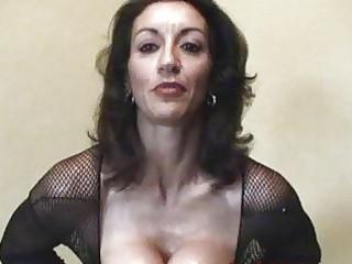 busty brunette older  into fishnet body stocking