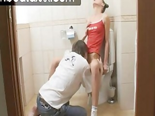 beata girl into bathroom fellatio action