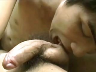 slutty eastern  gay man sucks his lovers huge