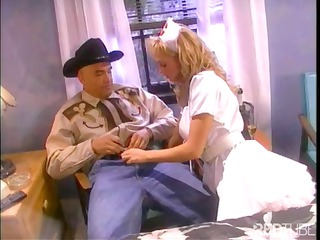 babe curly-haired blonde nurse give a cowboy some