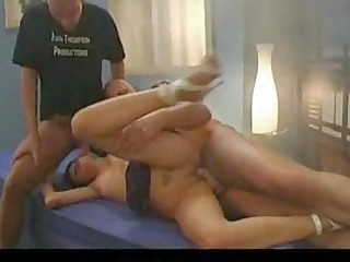 german girl with banged kitty in hot threesome