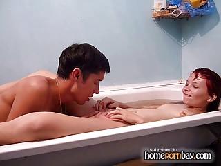 russian young pair tub gang bang