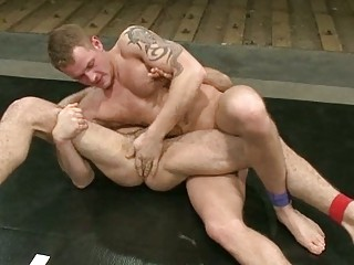 tattooed gay studs taking showed and wrestle