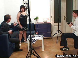 desperate grownup chick gets two cocks from both