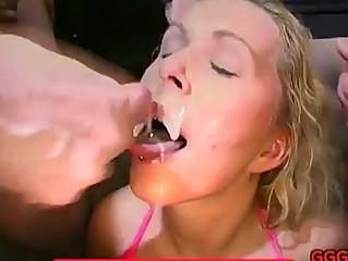 bukkake cumshots adoring facial whore
