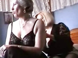 two grannies enjoy inside gstring and pantyhose