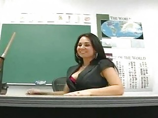 classy brunette lecturer dildoing inside stunning