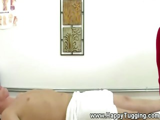 busty asian masseuse tugging dick for her fluky