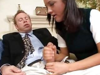 wonderful brunette inside school uniform licking