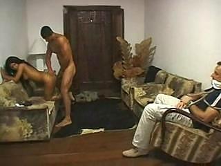 brazilian cuckold gangbanged inside front of man