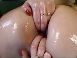 oiled, masturbation, fingering and big toy.