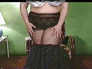 bbw striptease with hirsute cave flashing