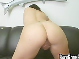 brunette chick gagging on difficult dick