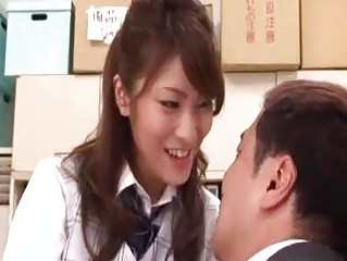 workplace girl kissing male figure  giving