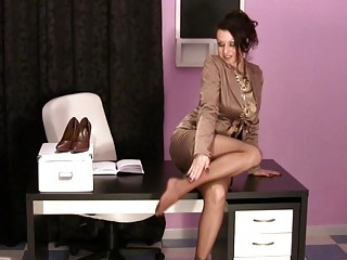 awesome mature babes inside the bureau having on