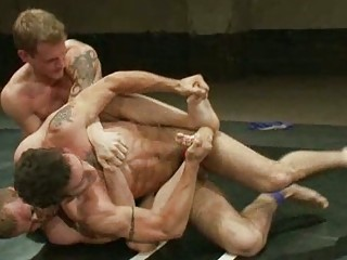 triple gay boys having horny fuck after wrestling