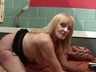 inexperienced bitch grandmother pleasing with her