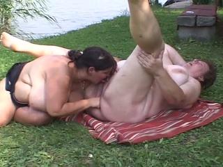 desperate plump dikes pleasuring kitty inside the