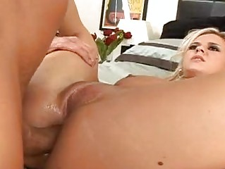 sweet pale with real boobs obtains her anal rammed