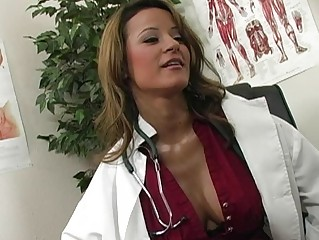 atractive naughty brunette gynecologist licking