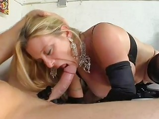 albino bitch with huge bossom and brown gloves