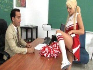 pretty cheerleader tessa licking and piercing her