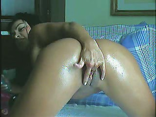 Cute Latina brazilian girl takes dildo in ass and