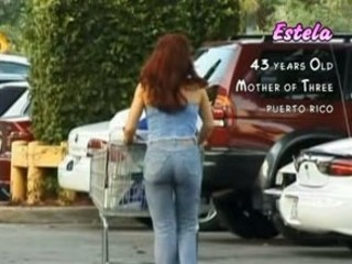 sweet desperate woman into a supermarket