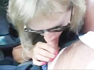 blonde milf car blowjob