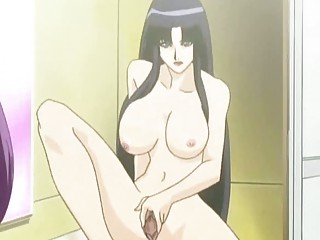 hentai brunette with pantyhose doing cock sucking
