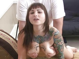 horny tattooed brunette young obtains fucked