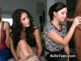 teen chicks taught by fuckstar to lick on a