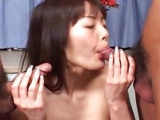 sweet asian babe twin dick sucking