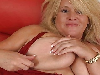 large albino momma with gigantic bosom plays  on