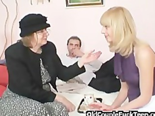 blonde shares penis with granny bag