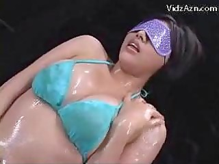 blindfolded babe inside blue underwear taking her