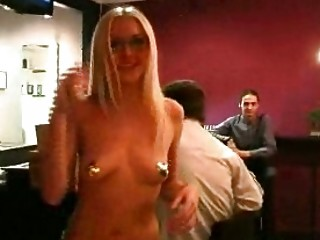 flashing getes naked into club