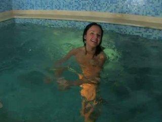 two teenage people on swimmingpool