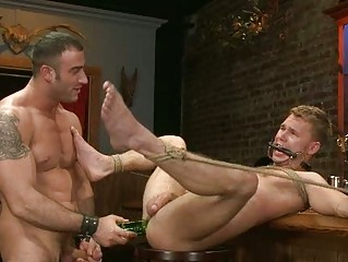 slutty gay stud obtains roughly dual gangbanged