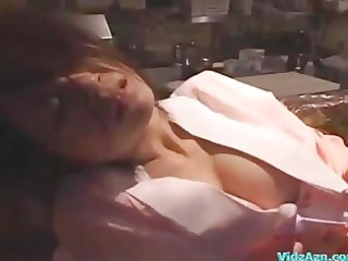 drunken babe into kimono drilled by 2 guys facial
