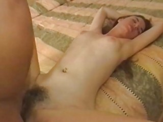 super babe gets pierced inside her hairy kitty