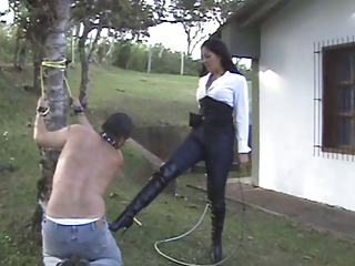 latino milf punishes her slave