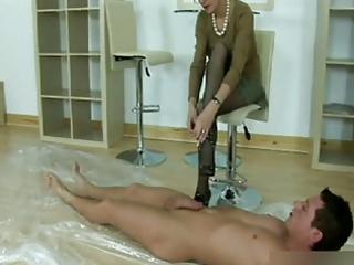 seductive nylons footjob and dick sucking