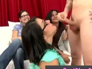 cfnm young bunch  femdom dick sucking